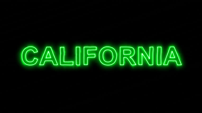 Neon flickering green State Name CALIFORNIA in the haze. Alpha channel Premultiplied - Matted with color black | Shutterstock HD Video #33945061