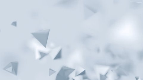 Abstract 3d rendering of chaotic low poly shapes. Computer generated flying polygonal pyramids in empty space. Futuristic motion background design with bokeh effect. 4k UHD