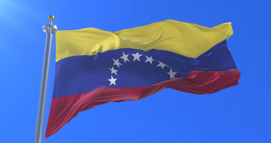 Venezuela flag waving at wind in slow with blue sky, loop
