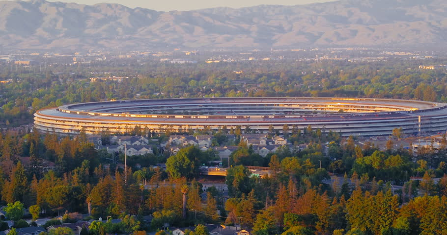Aerial drone of Apple Campus at sunset in Sunnyvale / Cupertino Silicon Valley, California. 18 May 2017