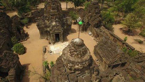 Aerial view over Ta Prohm Temple - Angkor, Cambodia,Tonlé Bati