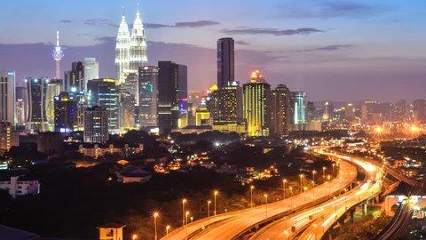 Time lapse busy light trail traffic on a freeway of Kuala Lumpur, Malaysia