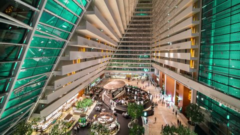 Timelapse View inside The hotel hall Marina Bay Sands in Singapore. August 2017