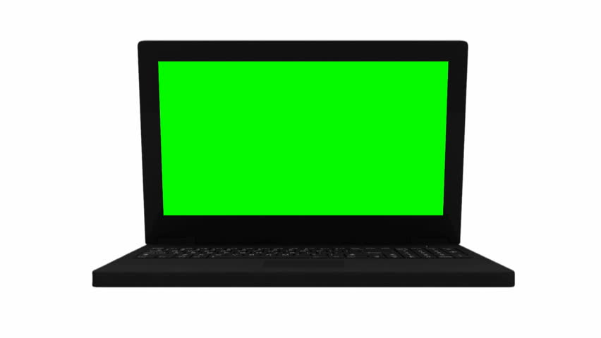 Animation of Laptop with Green Screen and Alpha Channel. HD Video Clip #3409826