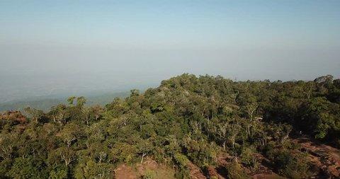 Aerial view from drone Lan Hin Poom at Phu Hin Rong Kla National Park, The famous national park in Phitsanulok, Thailand.