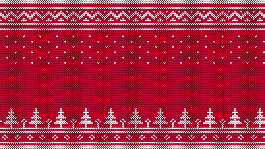 Animated looped knitted sweater ornament - spruce, falling snow, national patterns. White on a red  background.  | Shutterstock HD Video #34111456