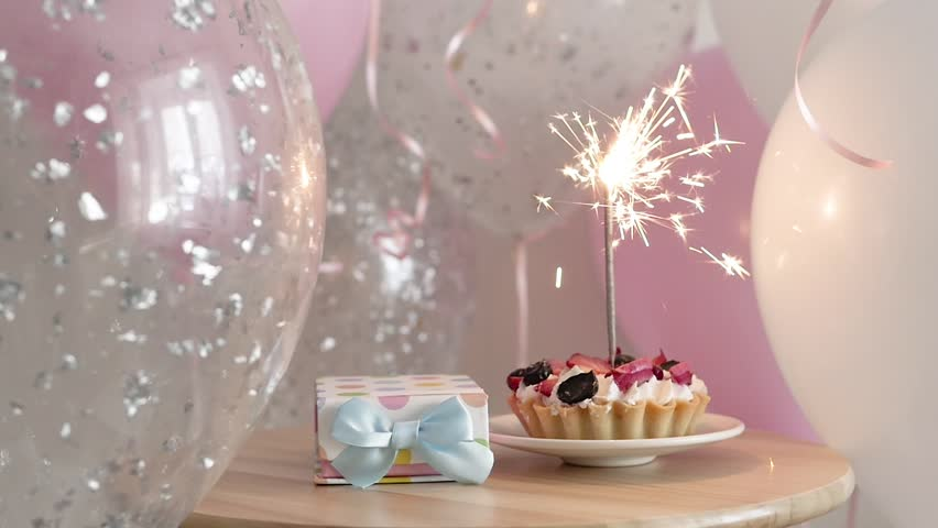 Happy Birthday Cake With Sparklers Gift
