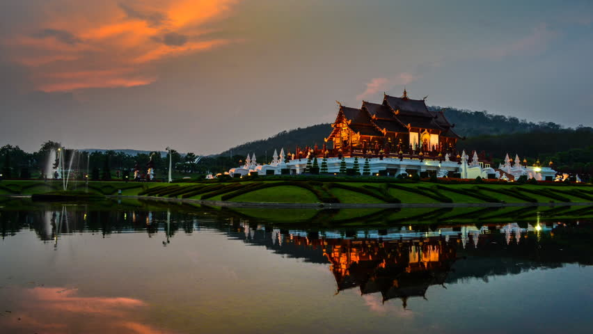 Time Lapse Sunset And Beautiful Horkumluang Castle Of Chiang Mai Thailand (Day To Night)
