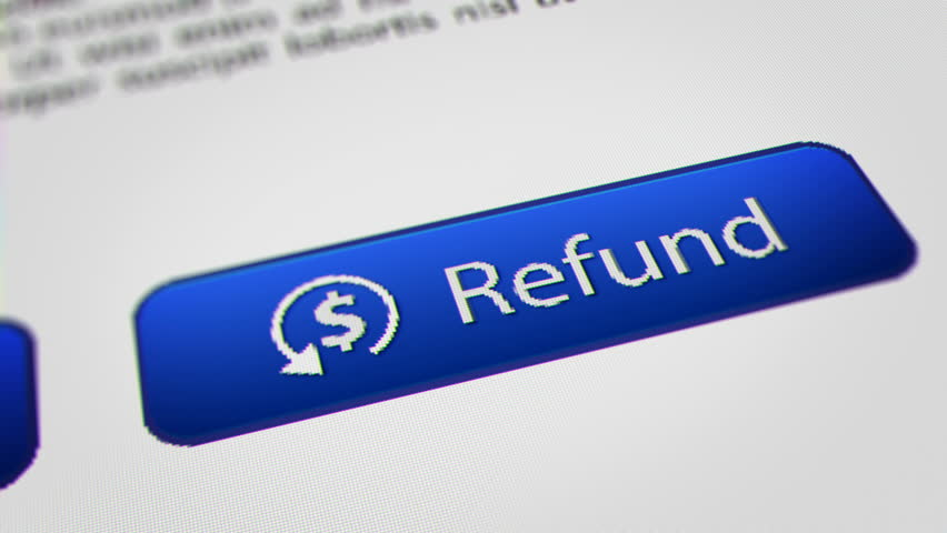 """Close up Shot of Mouse Cursor Clicking """" Refund """" Button."""