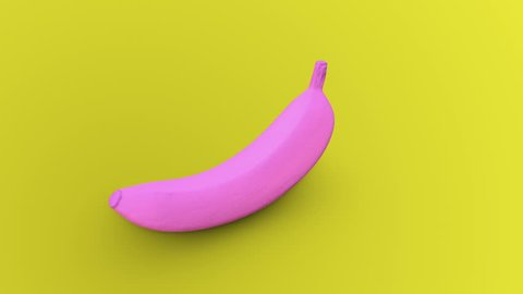Seamless rotation of a pink banana on a yellow background