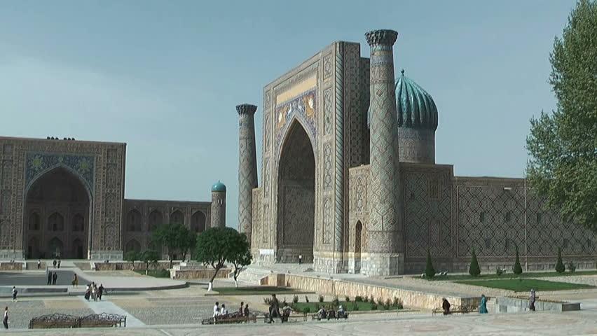 Tylia-Kori  and Sher-Dor Madrasah at Registan Square in Samarkand Uzbekistan, Unesco world heritage,site