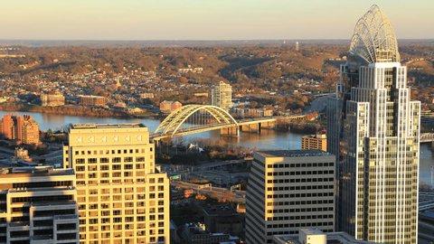 Timelapse aerial of Cincinnati in Ohio 4K