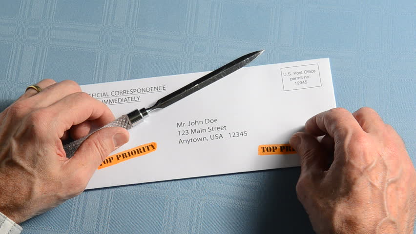 man holding top priority letter - HD stock footage clip