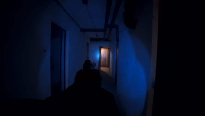 Federal agent in slow and careful pursuit of potential suspects. Going through the dark basement. First person point of view. | Shutterstock HD Video #34220386