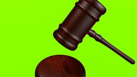 Gavel Hammered In Court Animated And Isolated On Green Screen Background