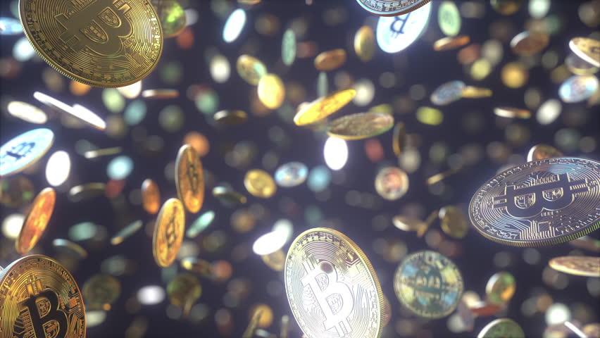 Multiple falling bitcoin tokens