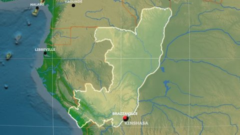 Zoom-in on Congo Brazzaville outlined on the globe. Capitals, administrative borders and graticule. Colored physical map