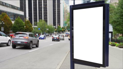 4K Blank White Billboard Ad, Blank City Poster Advertising Bus Stop Shelter Sign