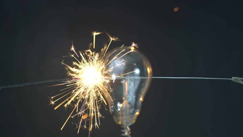 Sparklers with light bulb | Shutterstock HD Video #34330906