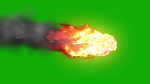 Asteroid Meteor Entering Atmosphere Green Screen Space Fire Burn Universe 3D Renderings Animations
