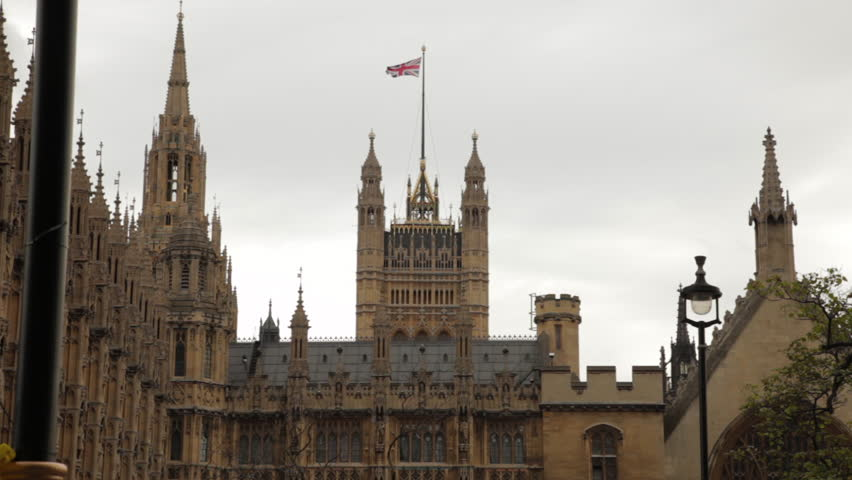 Westminster Palace with the Union Jack above.