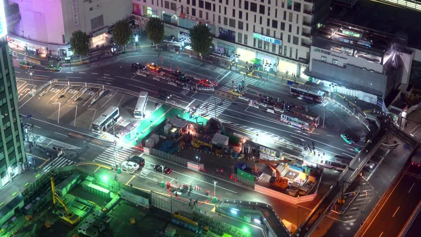 Aerial view of a bus terminal in Shibuya, Tokyo, Japan | Shutterstock HD Video #34405066