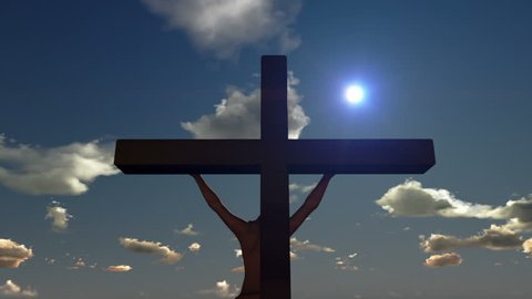 Jesus on Cross, close up, time lapse sunset, day to night
