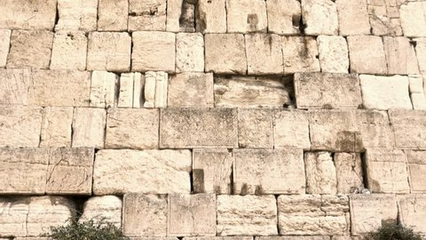 General view of the Western Wall from the bottom to up. Jerusalem. Israel