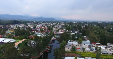 Drone flying over Xochimilco Mexico Channel