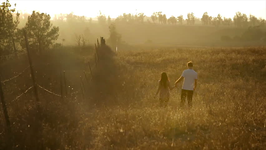 Couple Walking In A Field Stock Footage Video (100
