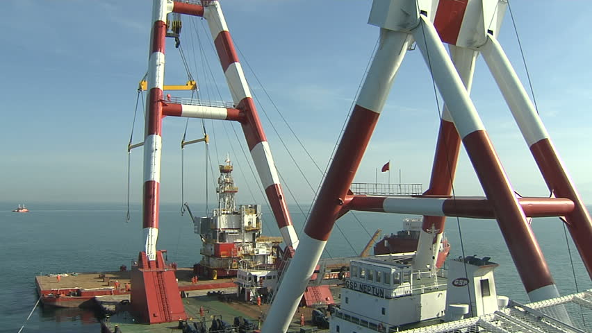 Crane and oil rig