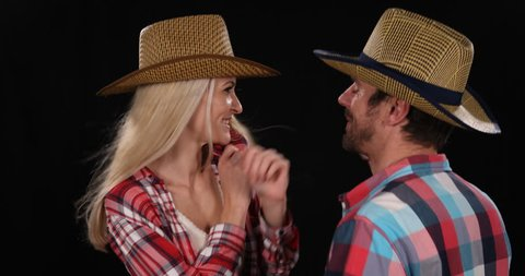 Attractive American Texan Couple Dancing Wear Cowboy Hat Farmer Shirt Clothing