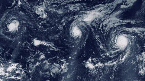 eye of a large typhoon. hurricane in the ocean. hurricane storm, tornado, satellite view