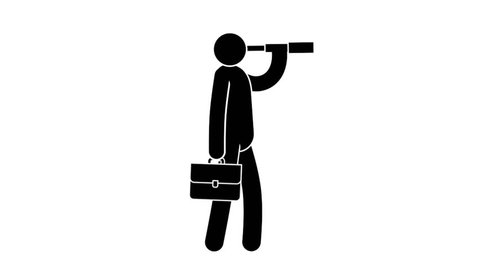 Pictogram of businessman with briefcase looking in spyglass. Looped animation with alpha channel.