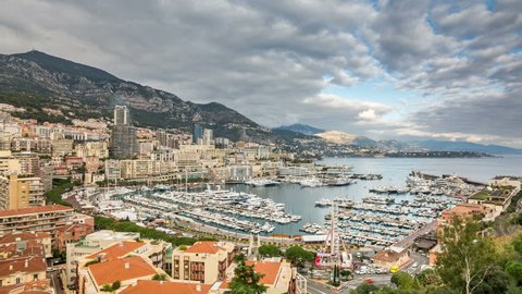Monte Carlo, Monaco. Panoramic view. Clouds move across the sky. Time lapse video.