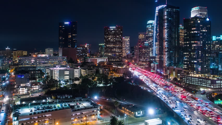 Cinematic urban aerial timelapse of downtown city at night | Shutterstock HD Video #34602976