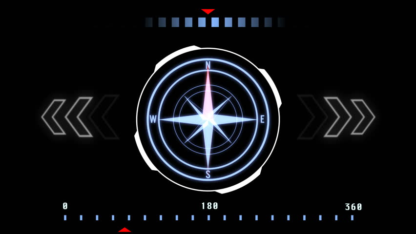 HUD Futuristic User Interface Compass Navigation Design Concept.