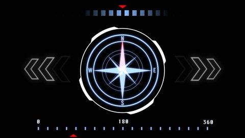 HUD Futuristic User Interface Compass Navigation Design Concept.