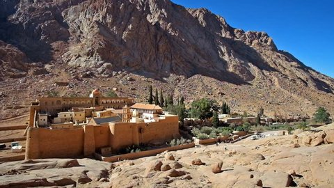 The medieval fortificated monastery of St Catherine, located at the foot of the rocky mount in the same named town, Sinai, Egypt.