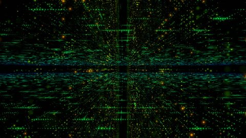 Abstract dark background dolly moving camera pass through  particle and lighting with grain processed for futuristic technology and cyber concept