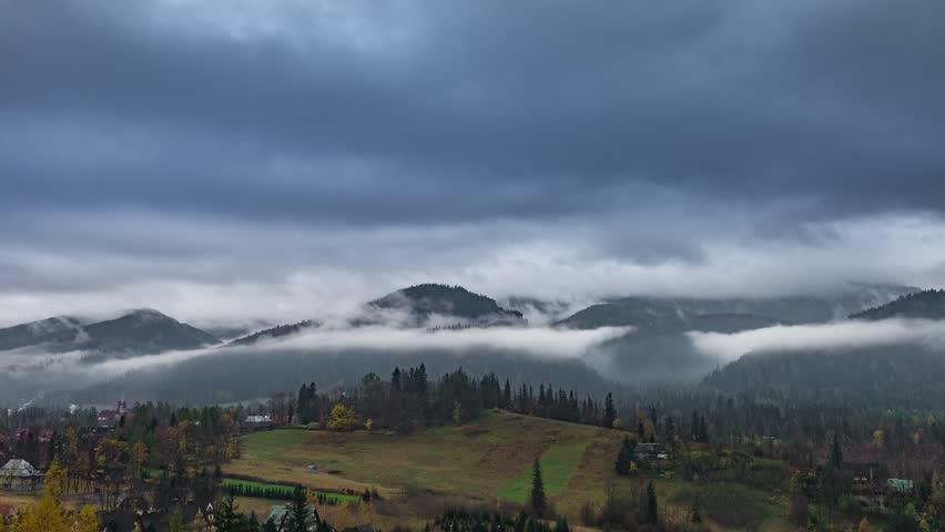 Foggy Tatras mountains in Zakopane, Poland, Timelapse 4K