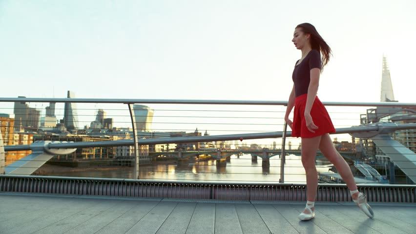 Urban street ballet dancing girls leaping performance #34693246