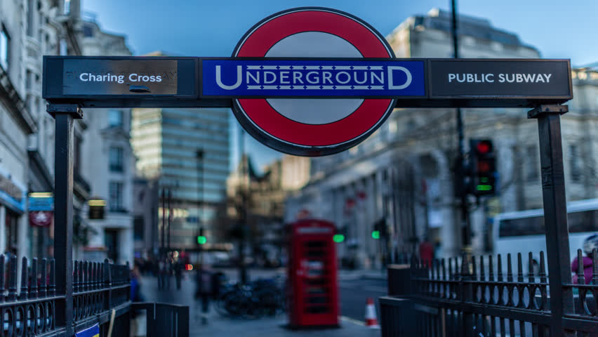 time lapse of underground sign in london england