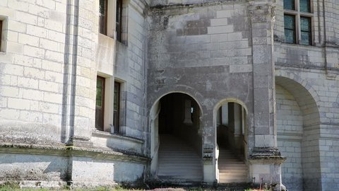 Château Chambord Two Arches Onto Stairs One Large, One Small From Outside, Loire Valley France.