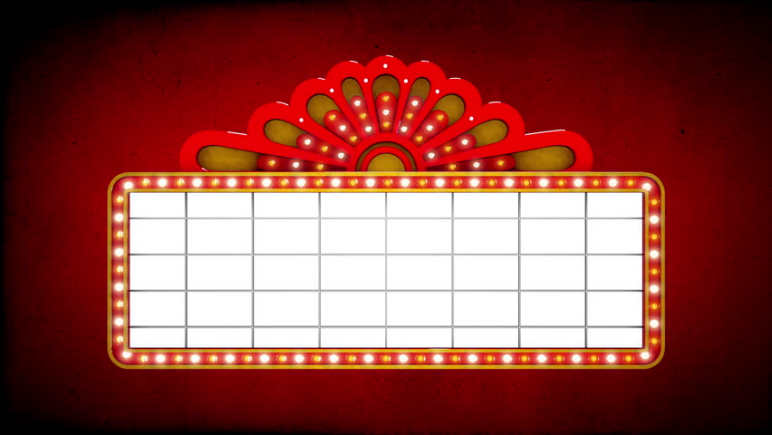 1080p hd video of a blank old fashioned movie marquee and