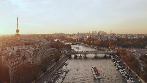 Aerial Paris Sunset France