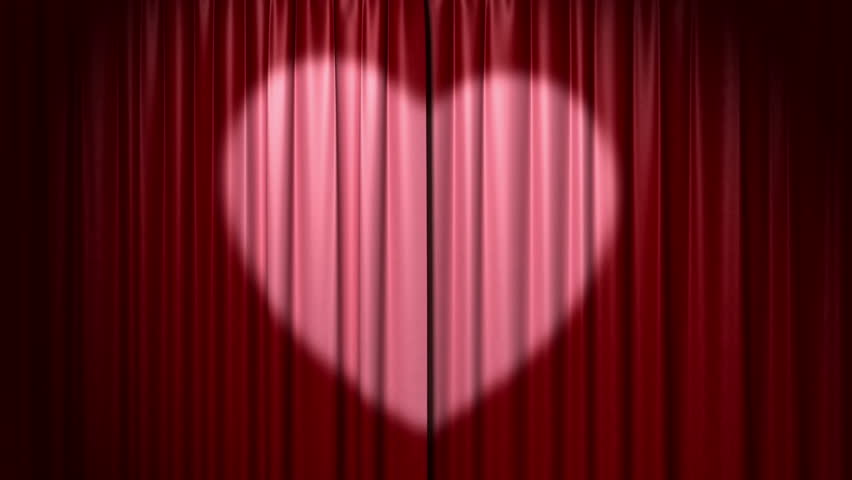 Opening And Closing Curtain With Heart, 3d Animation With Green ...