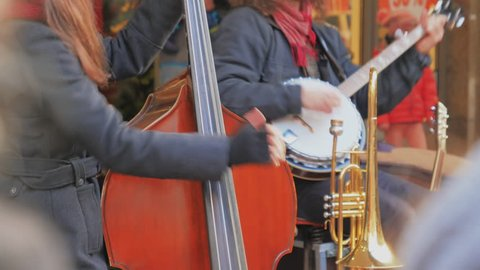 Street Musicians. Playing musical instruments