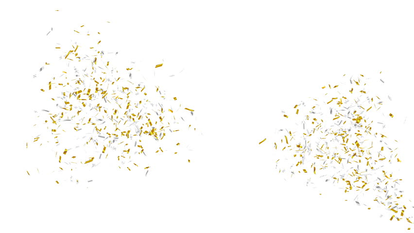 Gold and silver confetti explosion. Holiday or party background. Alpha channel, 4K