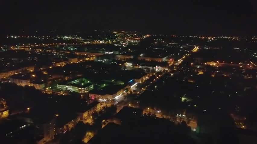 Night panorama of the city. Aerial view. Russia, Saransk., From Dron | Shutterstock HD Video #34882276